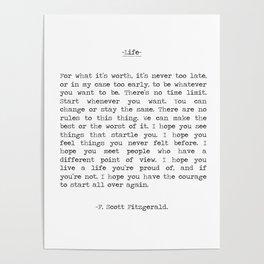 Life quote F. Scott Fitzgerald Poster