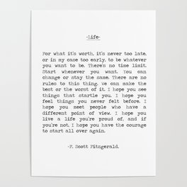 Life quote F. Scott Fitzgerald Poster