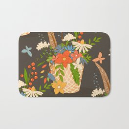 Basket with a bouquet of flowers, dark seamless background Bath Mat