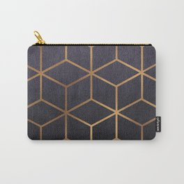 Dark Purple and Gold - Geometric Textured Gradient Cube Design Carry-All Pouch