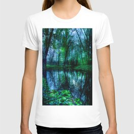 Enchanted Forest Lake Green Blue T-shirt