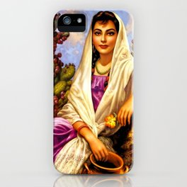 Jesus Helguera Painting of a Calendar Girl with Cream Shawl iPhone Case