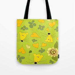 Yellow Mice Hearts and Flowers Digital Love Art Tote Bag