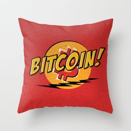 Bitcoin red Tataaa Throw Pillow