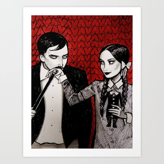 Morticia & Gomez Adams Art Print
