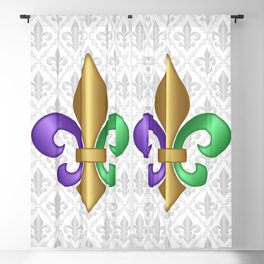 Purple Green and Gold Fleur-de-Lis on Gray Pattern Blackout Curtain