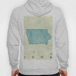 Iowa State Map Blue Vintage Hoody