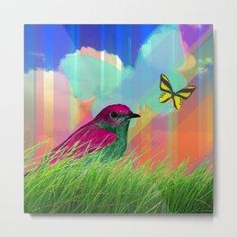 Bird & Butterflies Colorful Striped Sky Metal Print
