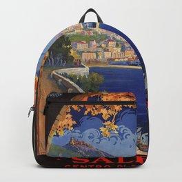 Salerno Italy vintage summer travel ad Backpack