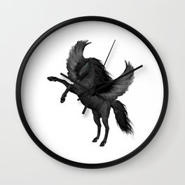 Flying Black Horse Wall Clock