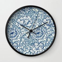 William Morris Navy Blue Botanical Pattern 8 Wall Clock