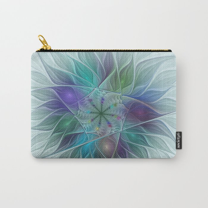 Colorful Fantasy Flower Fractal Art Abstract Carry-All Pouch