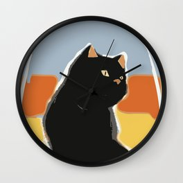 Cat alert Wall Clock