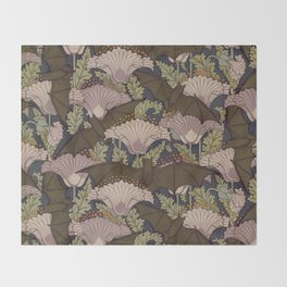 Vintage Art Deco Bat and Flowers Throw Blanket