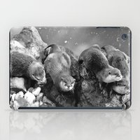 otters iPad Cases featuring Otters in mono by Shalisa Photography