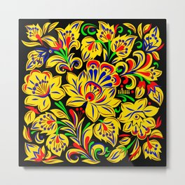 The Floral Motif Metal Print