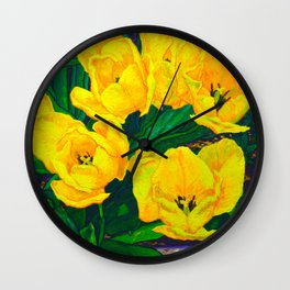 Yellow Tulips Wall Clock