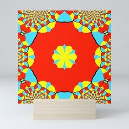 Abstract geometric celestial circle star sun flower snowflake burst pattern red yellow blue design Mini Art Print