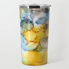 Alcohol Ink 'Fools Gold' Travel Mug