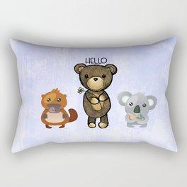 Bear Platypus and Koala Illustration on Purple Rectangular Pillow