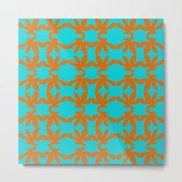 orange floral pattern on blue backround Metal Print
