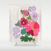 flora Shower Curtains featuring Flora by bethania lima designs