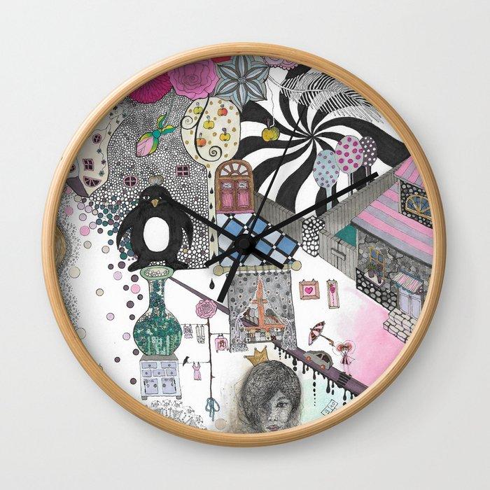 """Flowers""  Illustrated print Wall Clock"