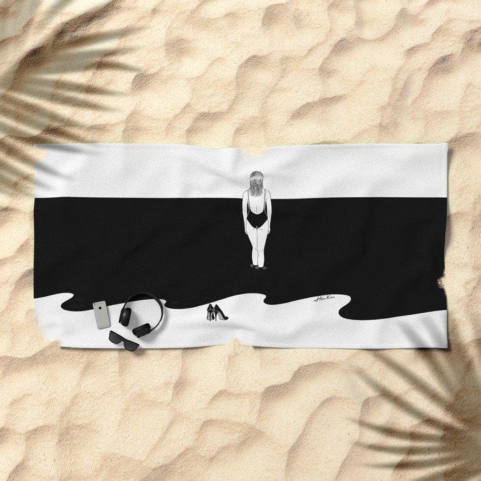Back to Black Beach Towel