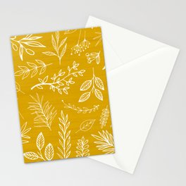 Golden Nature / hand drawn herbs Stationery Cards