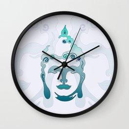Buddha Head turquoise I Wall Clock
