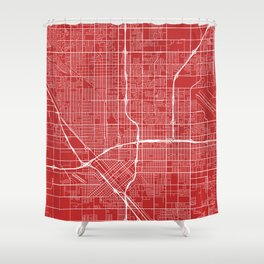 Fresno Map, USA - Red Shower Curtain