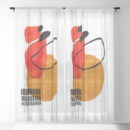 Mid Century Modern Abstract Vintage Pop Art Space Age Pattern Orange Yellow Black Orbit Accent Sheer Curtain