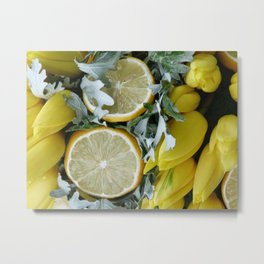 Yellow installation with lemon Metal Print
