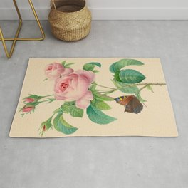 Selection of the most beautiful flowers Pink Rose - Pierre-Joseph Redouté - 1827 Rug