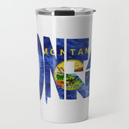 Montana Typographic Flag Map Art Travel Mug