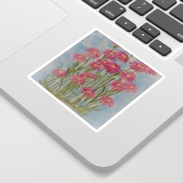 Asters Acrylic Floral Painting by Rosie Foshee for wall decor, and to share by stationary & stickers Sticker