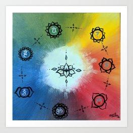 Seven Chakra Lotus Color Wheel Art Print