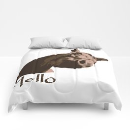funny horse hello Comforters