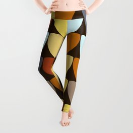 Retro 70s Color Palette Leaf Pattern Leggings
