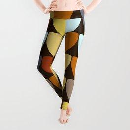 Retro 70s Color Palette Leaf Pattern Leggings