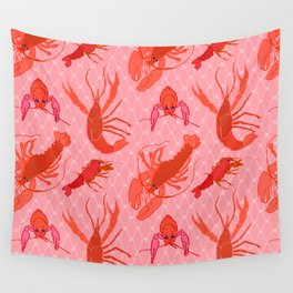 Catchin' Cajun Crawdads in Coral Wall Tapestry