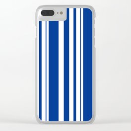 White and blue striped . Clear iPhone Case