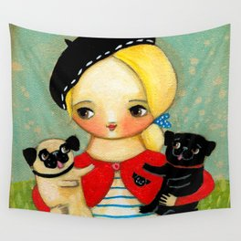 French girl with black pug and fawn pug Wall Tapestry