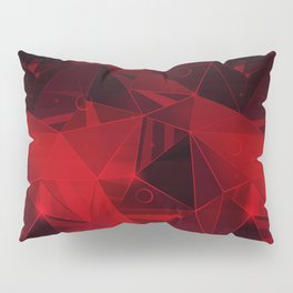Abstract polygonal pattern.Red, black triangles. Pillow Sham