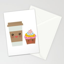 coffee in Paper thermo cup with brown cap and cup holder, chocolate cupcake. Kawaii Stationery Cards