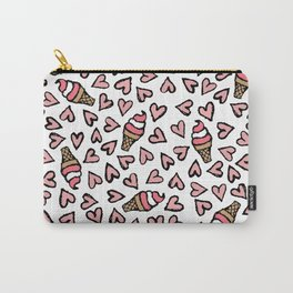 Cute Pink Hearts and Ice Cream Cones Illustrations Carry-All Pouch