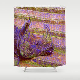 Abstract  Rhinoceros Shower Curtain