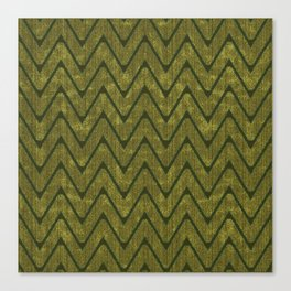 Moss Green Imitation Suede Zig Zag Pattern Canvas Print