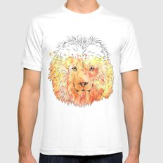 Watercolor Lion White MEDIUM Mens Fitted Tee