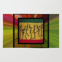 reggae Area & Throw Rugs featuring lively up reggae dancers (square) by dedmanshootn